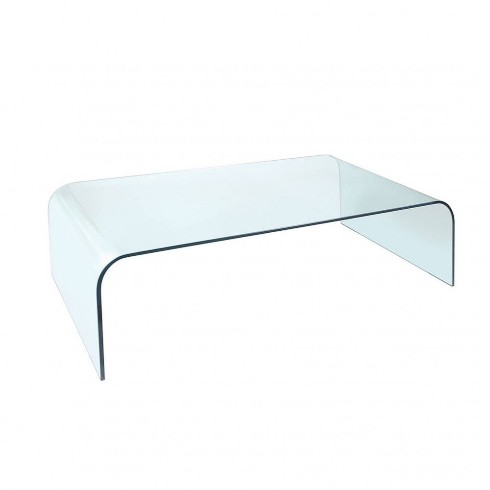 Curved Glass Coffee Table White Cactus