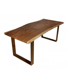 Natural curved wood dining table with brass finish legs