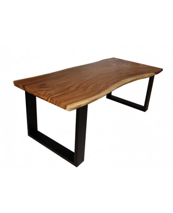 Mesa de comedor madera natural con patas acabado negro