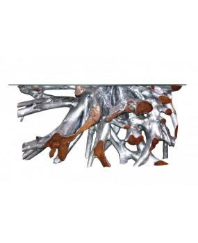 Consolar de madera raíz de teca pintado plata