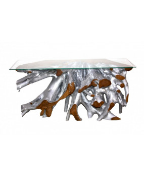 Teak Root Console Table (Silver)