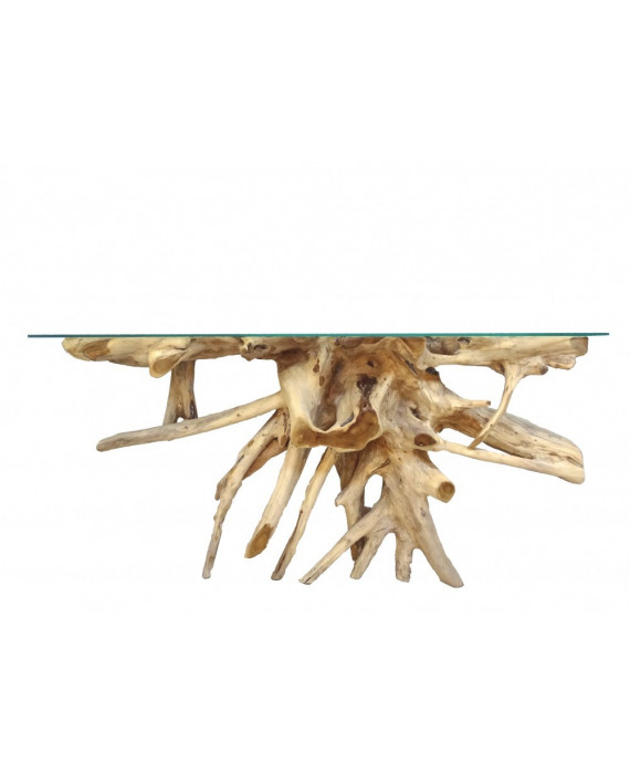 Mesa de consolar de raíz de teca natural